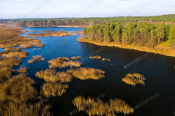 View from the height of the lake Papernya in Belarus. The Nature Of Belarus
