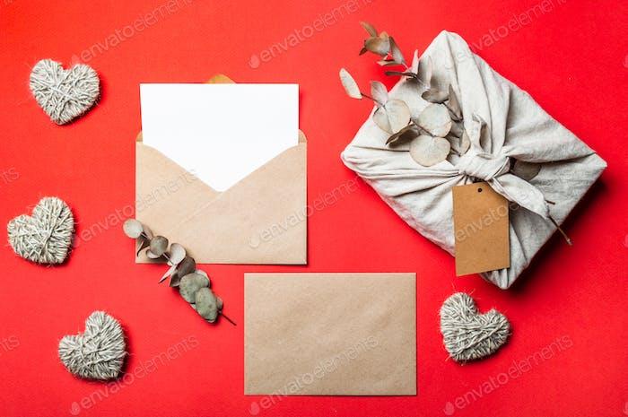 Zero waste Valentine's Day concept, mock up