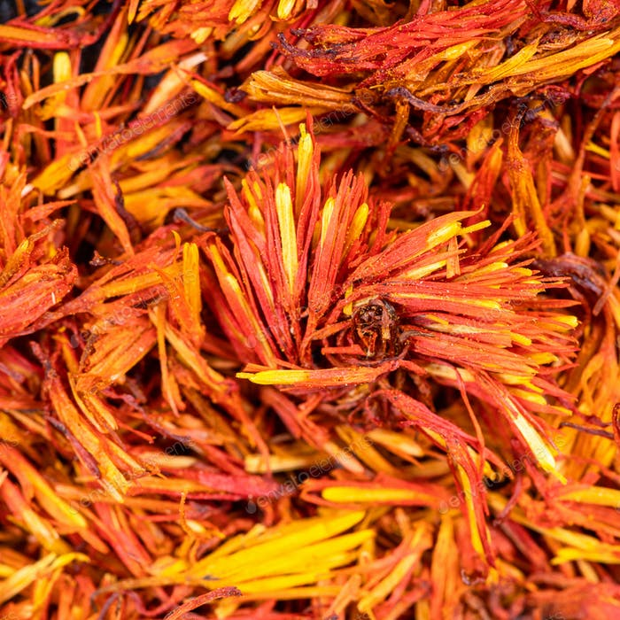 dried safflower blooms close up