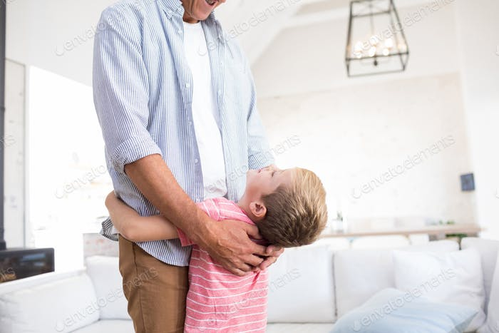 Happy father and son embracing each other in living room