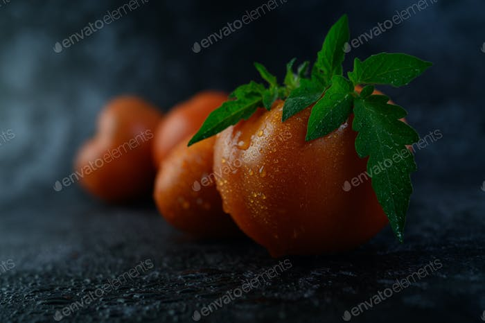 Bio-Tomate mit Wassertropfen im Nahaufnahme-Makro.