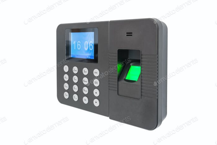 fingerprint attendance machine isolated