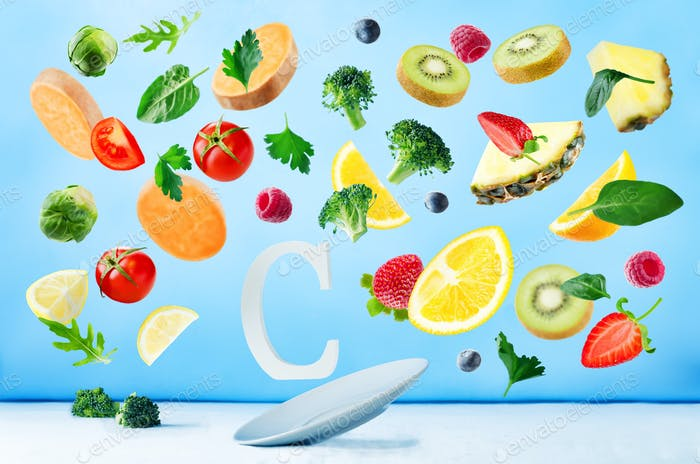 Flying foods rich in vitamin c. Fresh vegetables and fruits