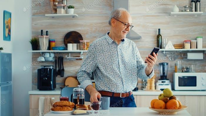 Pensioner listening music