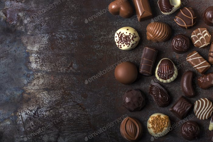 Assortment of fine chocolate candies
