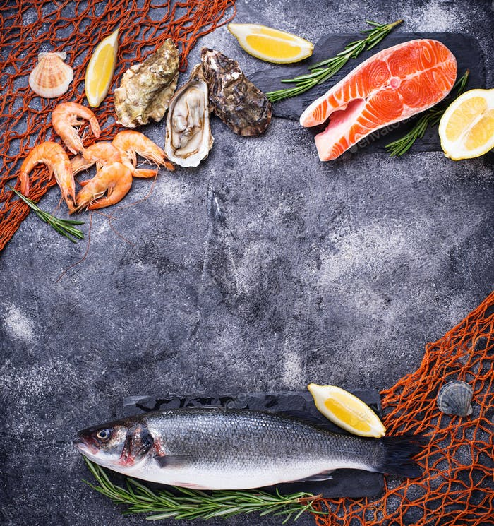 Salmon, seabass, shrimps and oysters
