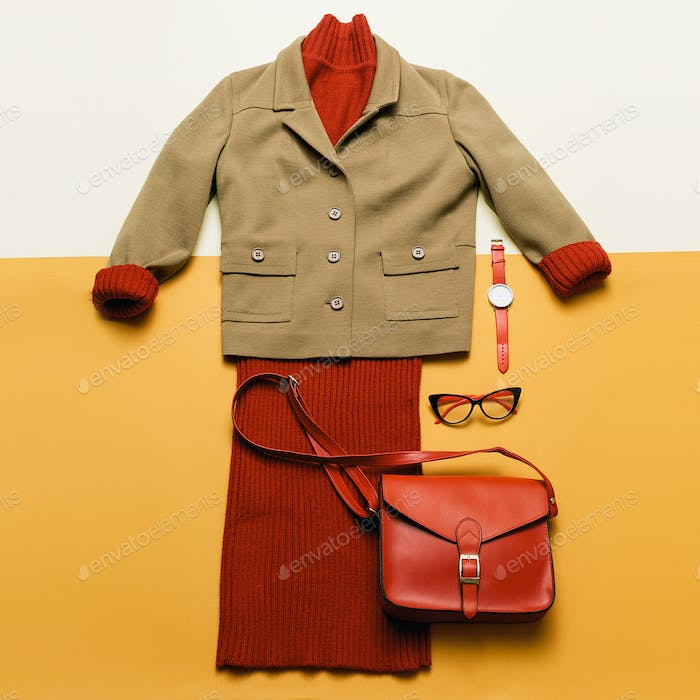 Lady Autumn Spring Outfit Vintage Knitted sweater and red access