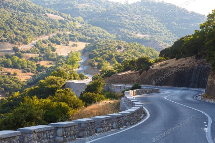 Winding mountain road in Greece, Kalambaka