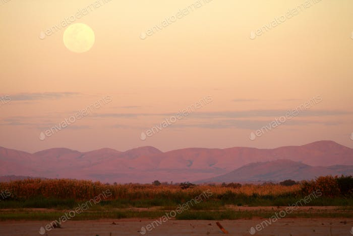 Moonscape over Tsiribihina river in Madagascar