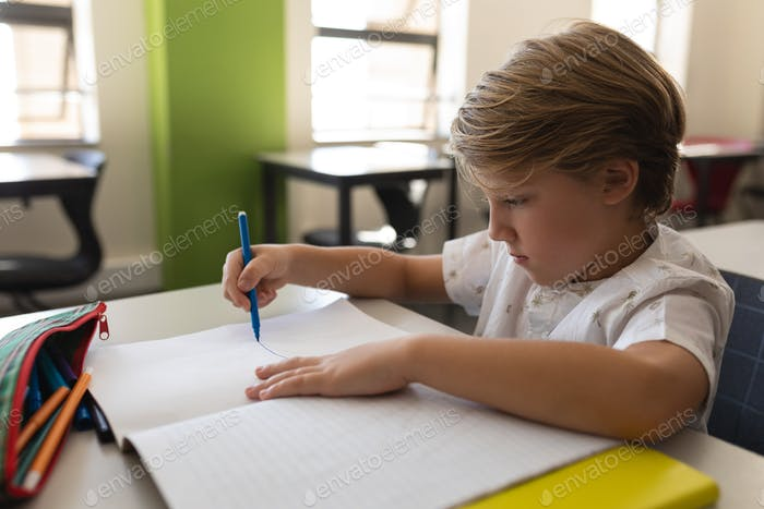 Side view of focused schoolboy studying in classroom sitting at desks in school