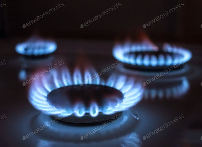 gas flame, selective focus
