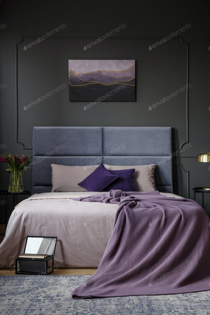 Purple dark bedroom interior