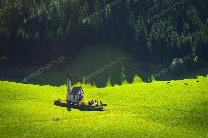 San Giovanni oder St. Johann in Ranui Kapelle, Villental, Dolomiten Alpen, Italien.