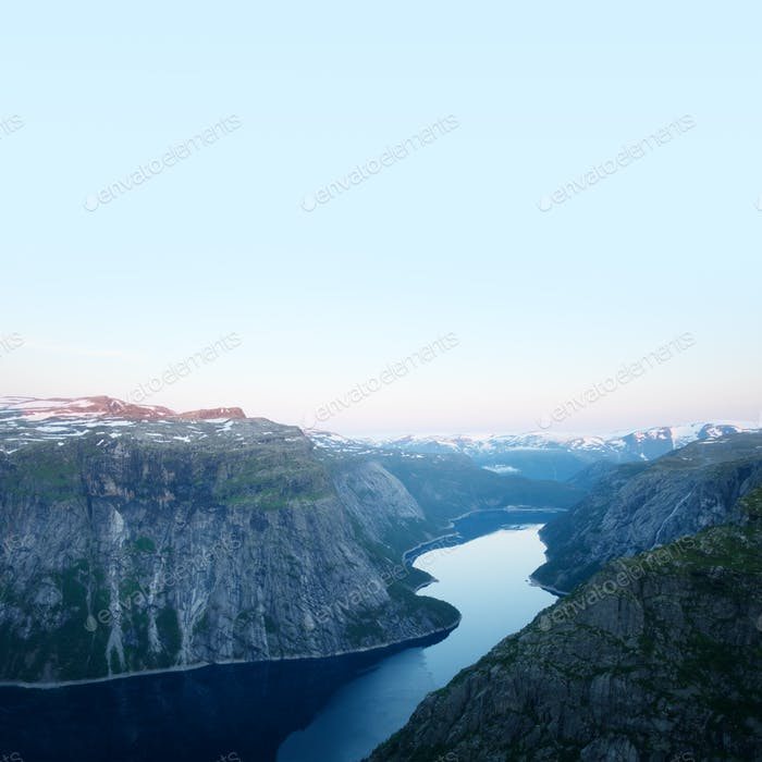 Breathtaking view on Ringedalsvatnet from Trolltunga rock
