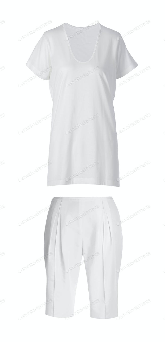Woman's sports shorts with white t-shirt