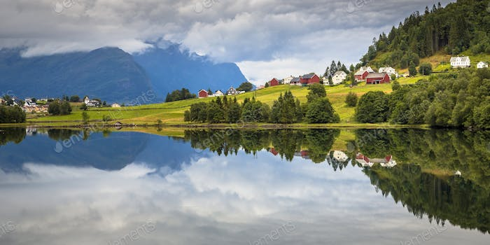 Panorama landscape of Nordic village in Norwegian fjord