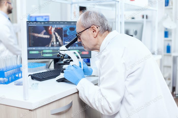 Senior caucasian scientist microbiology laboratory conducting virus analysis