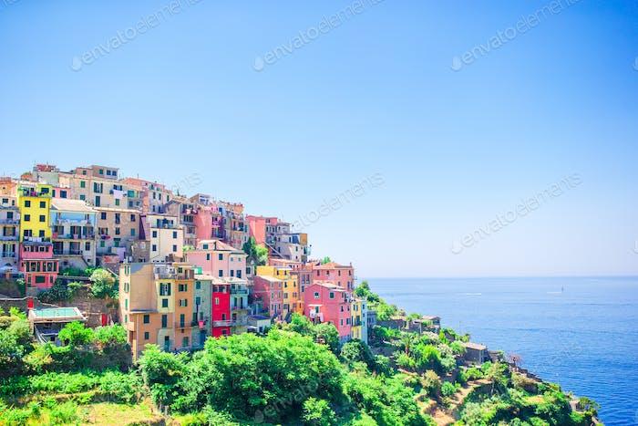 Beautiful view of the amazing village of Corniglia in the Cinque Terre reserve. Liguria region of