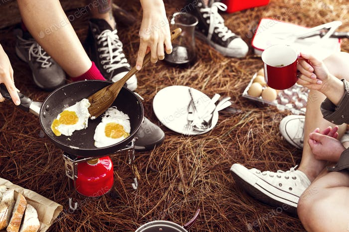 Camping Breakfast Morning Friends concept