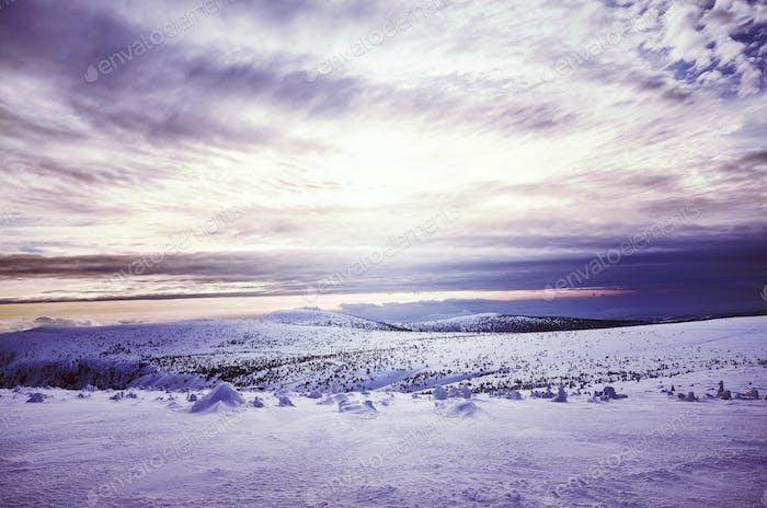 Winter mountain landscape at sunset.