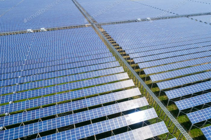 aerial view of solar energy generating station