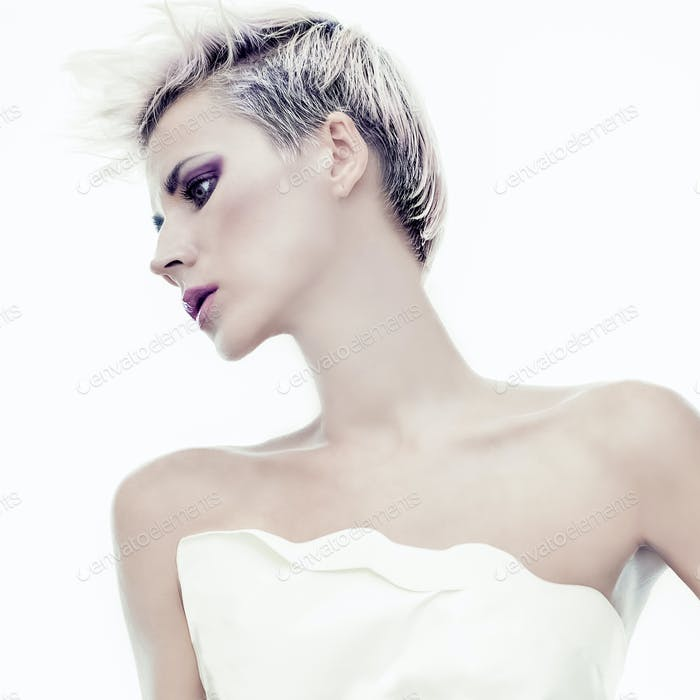 Portrait of sensual girl with fashionable hairstyle