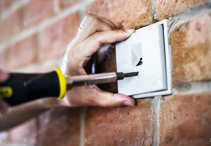 Closeup of switch installation
