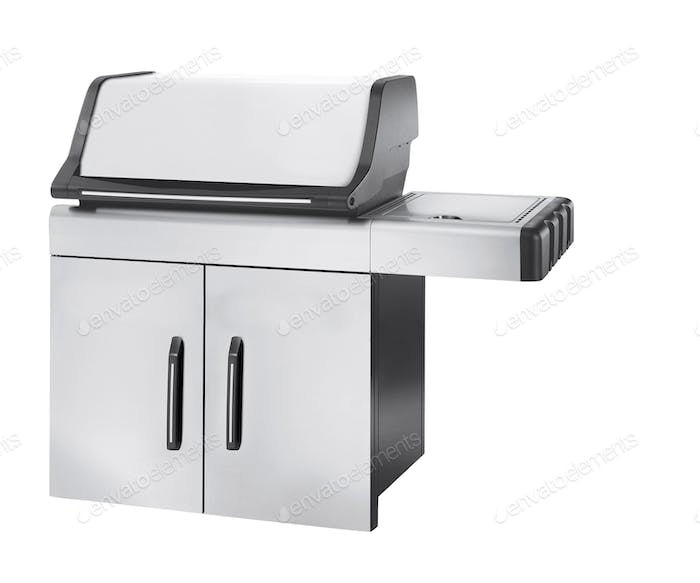 Stainless steel gas cooker with oven isolated
