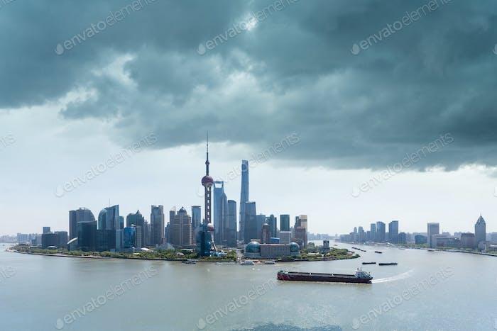 shanghai skyline and the sky clouded over