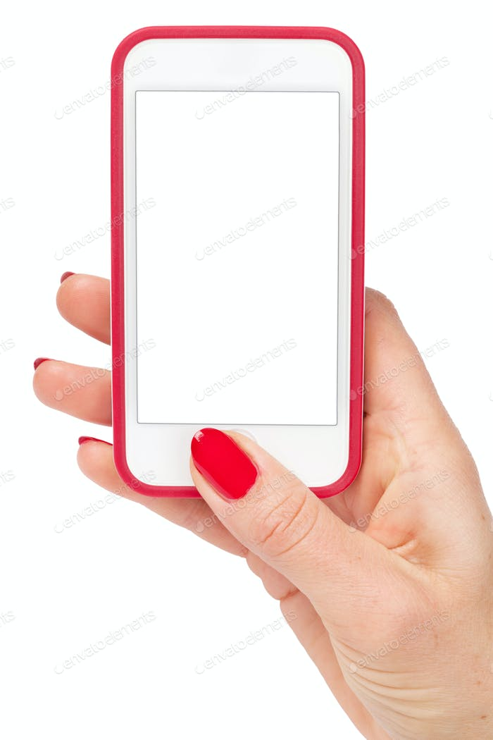 Female hand holding a smartphone. Isolated