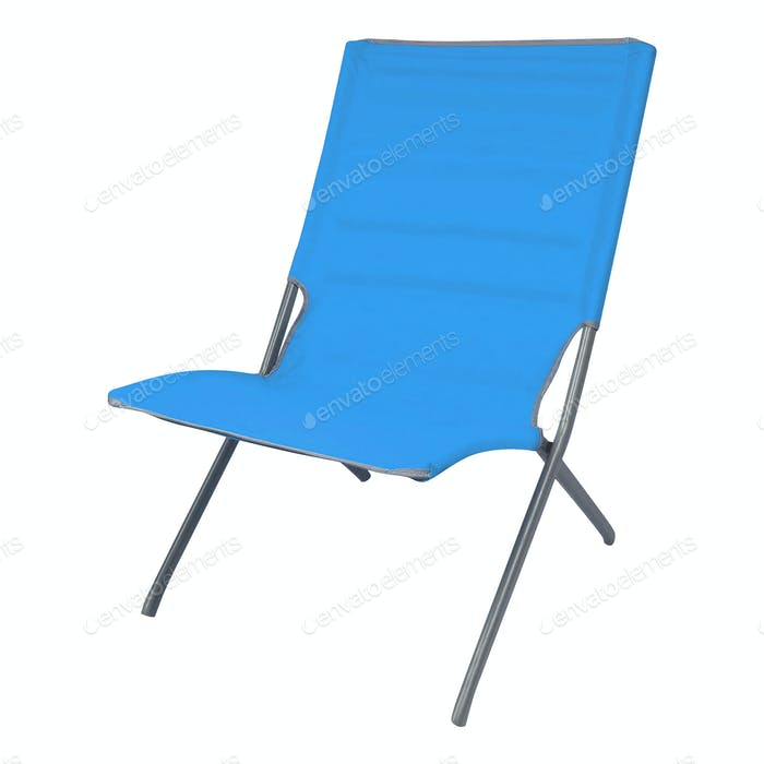 Blue summer deckchair isolated on a white background