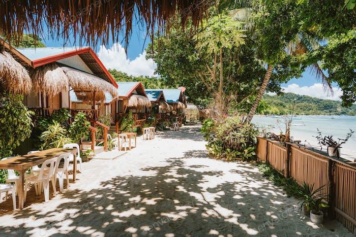 Holiday vacation on beautiful tropical beach, relax chill getaway enjoy summer in El Nido, Palawan