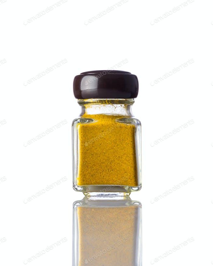 Jar Curry Powder on White Background