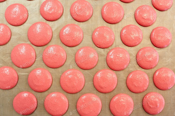 macaron batter or meringue cream on baking paper