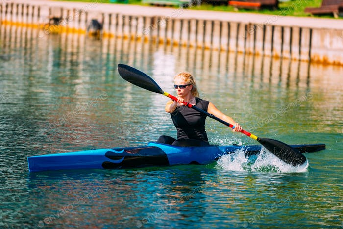 Female athlete in kayak