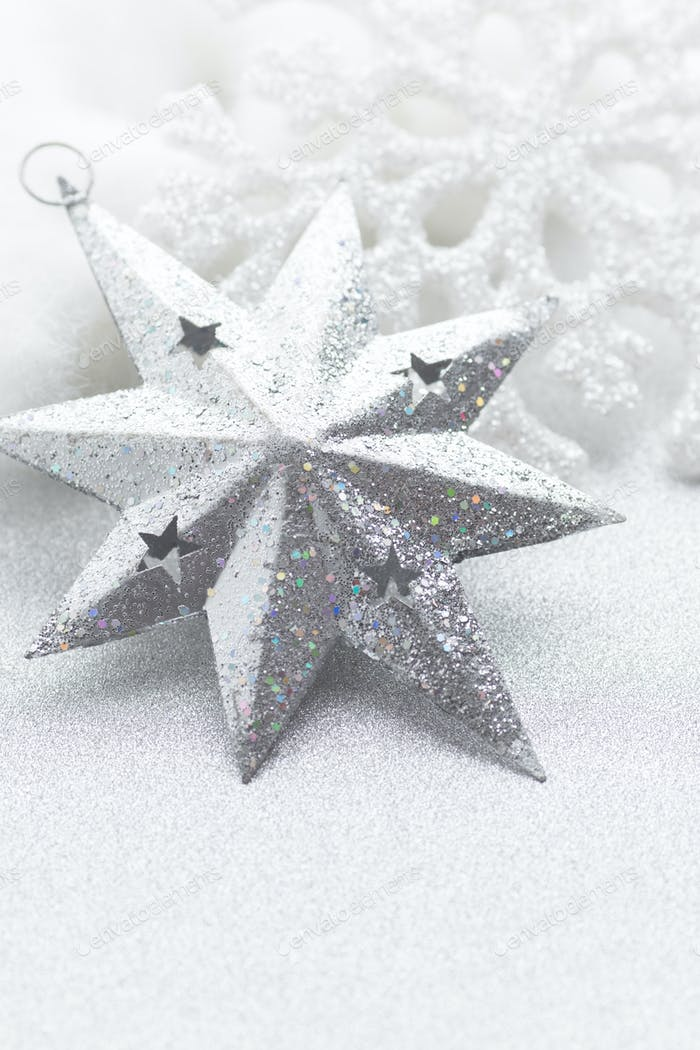 Snowflakes on silver background. Christmas greeting card.