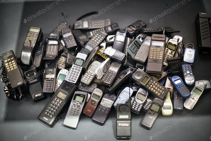 Stack of old mobile phones
