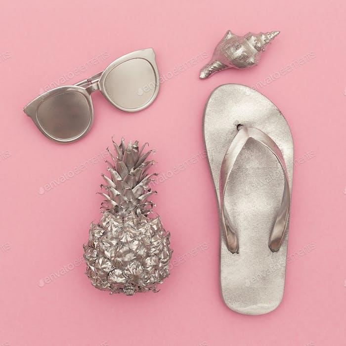 Silver set vacation. Pineapple, sunglasses, beach fashion