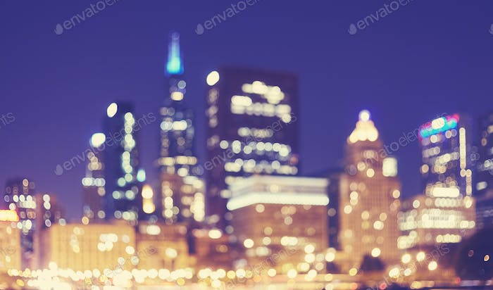 Blurred picture of Chicago downtown at night, USA