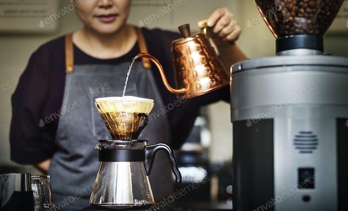 Barista Drip Pouring Apron Cafe Brew Waiterss Concept