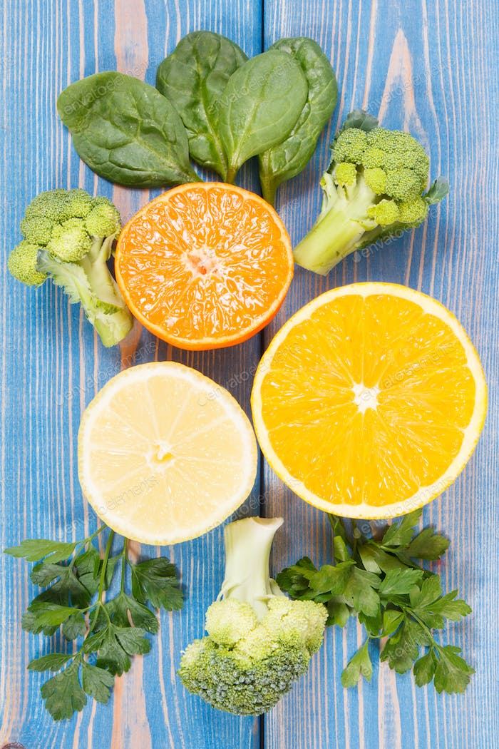 Fruits and vegetables as sources vitamin C