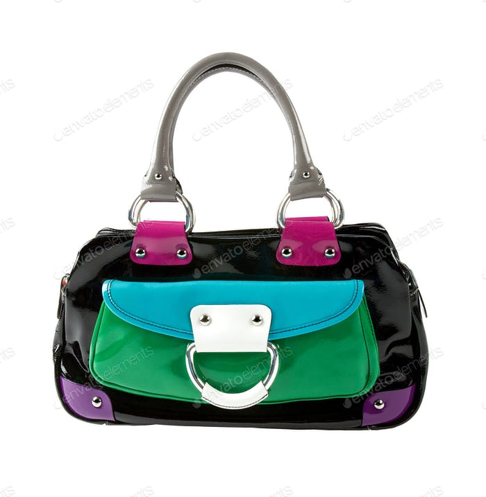 Color block patent leather handbag