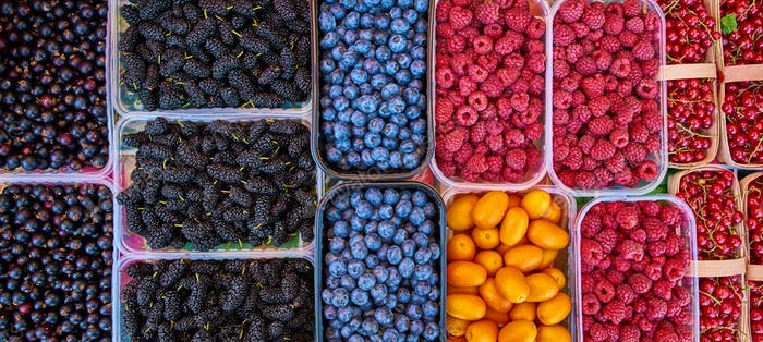 Baskets of berries in a market. mixed berries. bio colorful berr