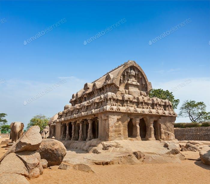 Five Rathas. Mahabalipuram, Tamil Nadu, South India