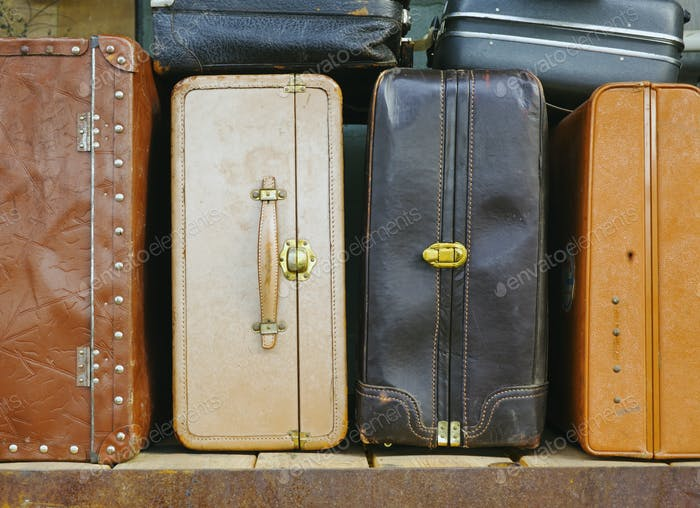Shelves of luggage, old suitcases.