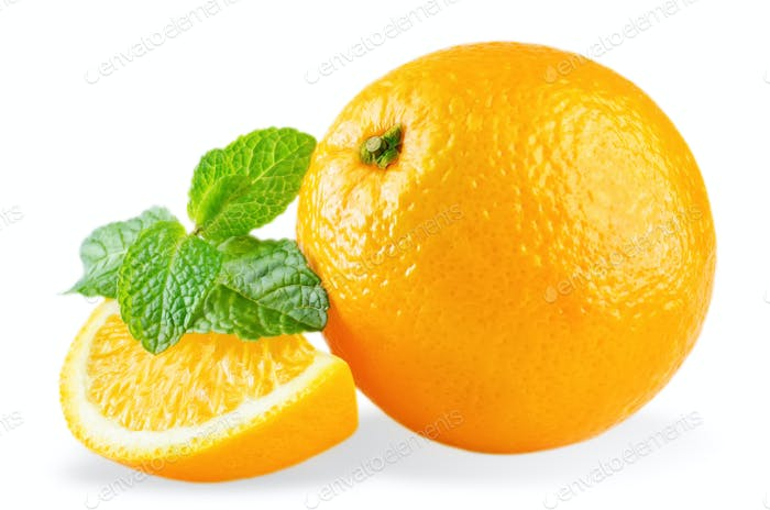 Oranges with mint leaves