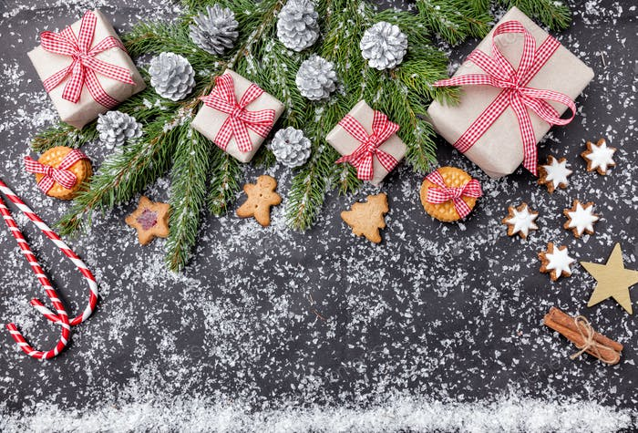 Christmas decoration and food background with snow
