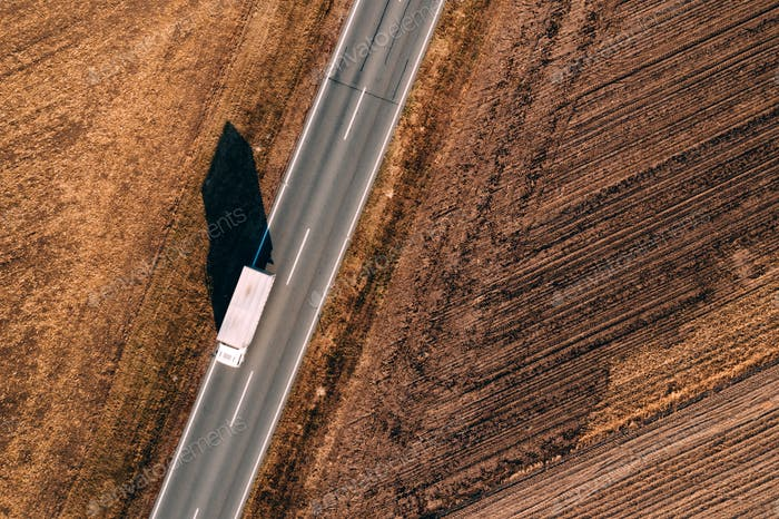 Aerial view of truck on the road