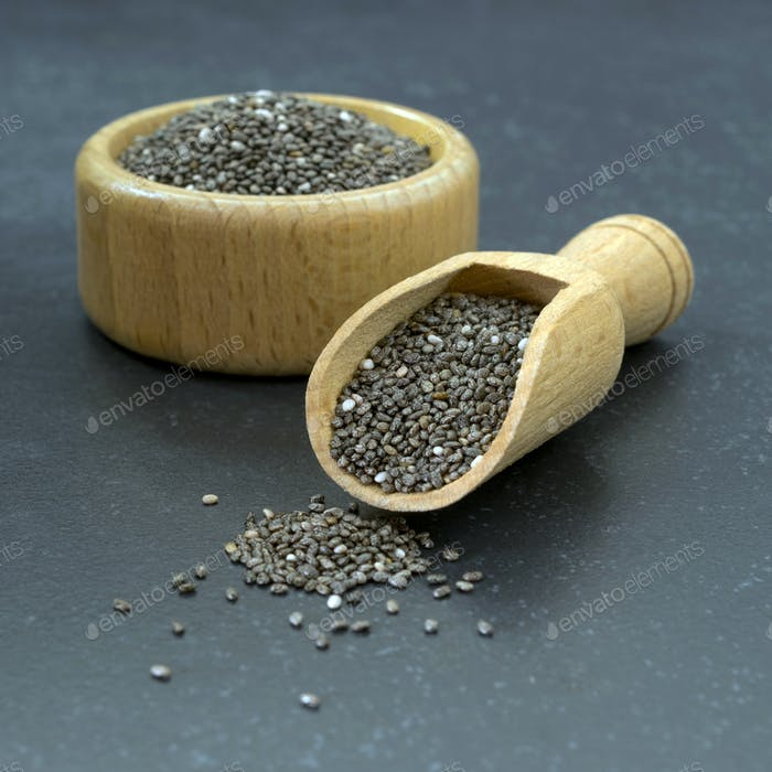 Chia Seeds in a Wooden Bowl and Scoop