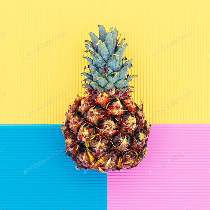 Pineapple in a geometric background Minimal art design fashion